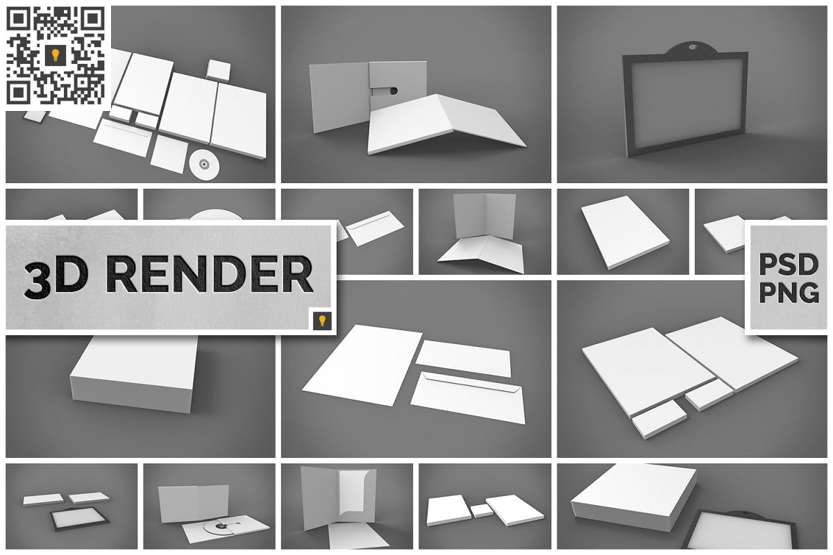 Branding Stationary 3D Render example image 1