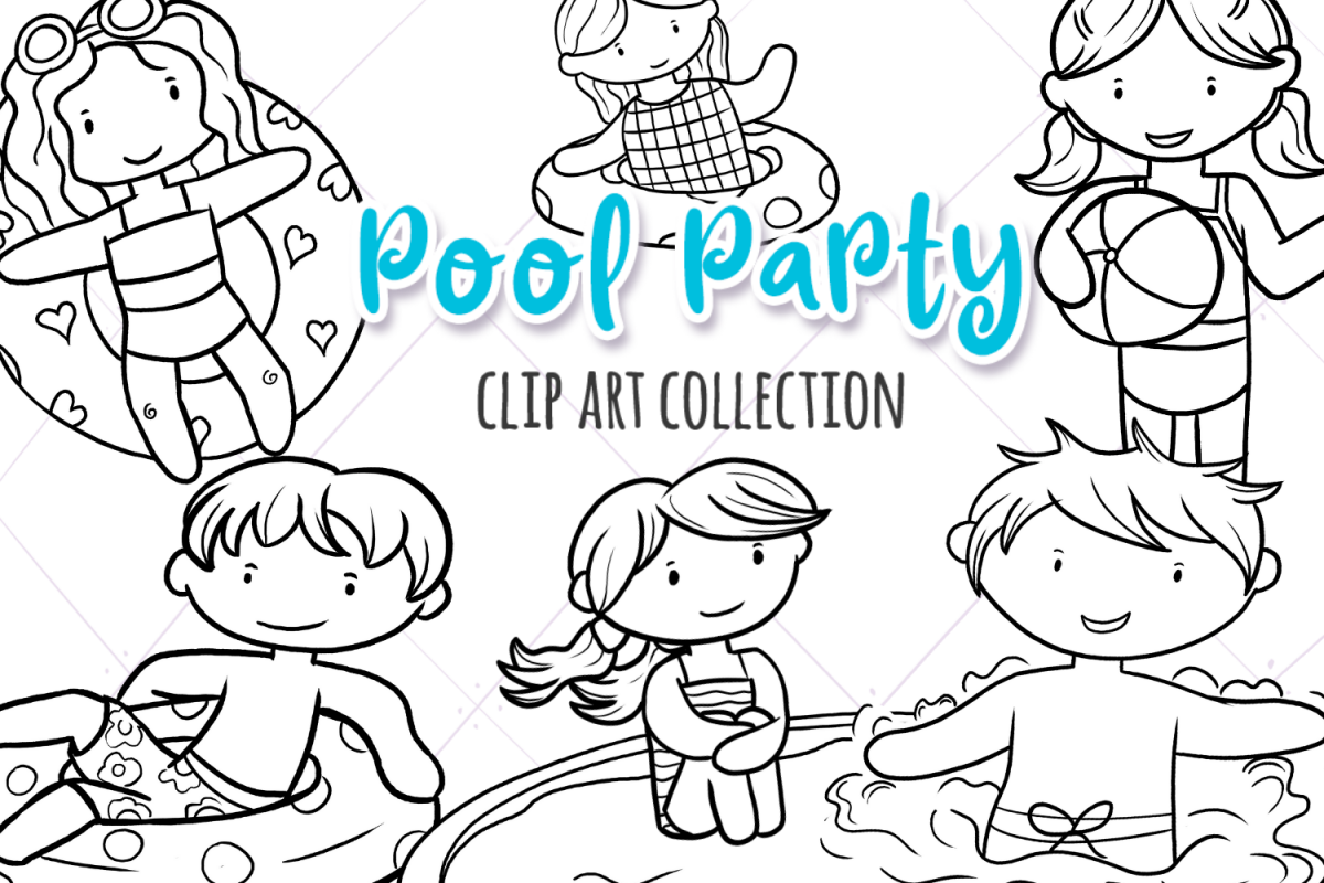 Pool Party Summer Fun Digital Stamps example image 1
