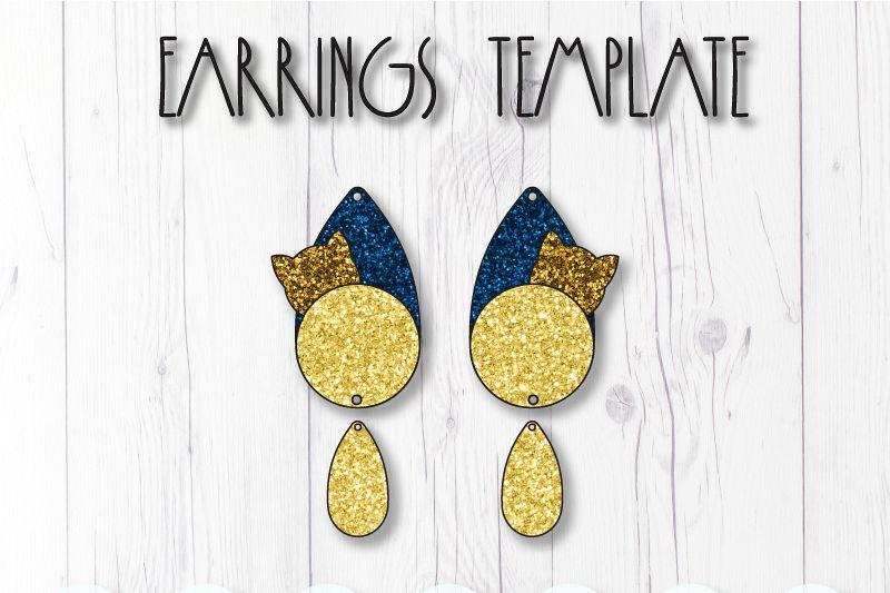 Cat earrings template SVG, DIY earrings template example image 1