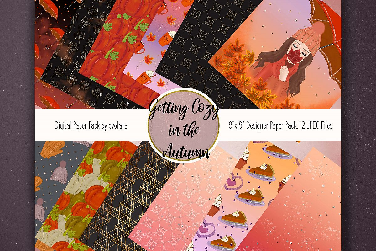 Autumn Digital Paper Fall Paper Pack Autumn Fall Backgrounds example image 1