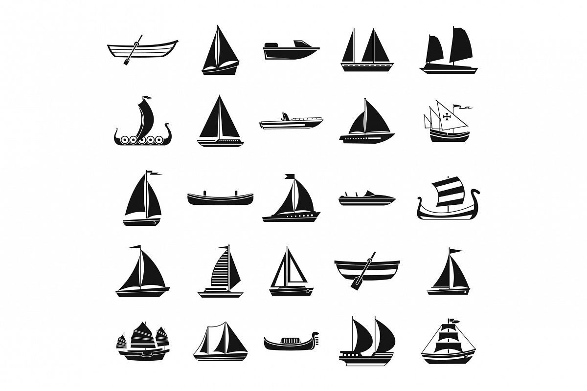 Boat icon set, simple style example image 1