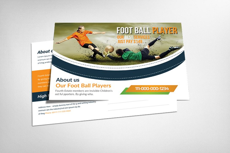 Football Player Postcard Template example image 1