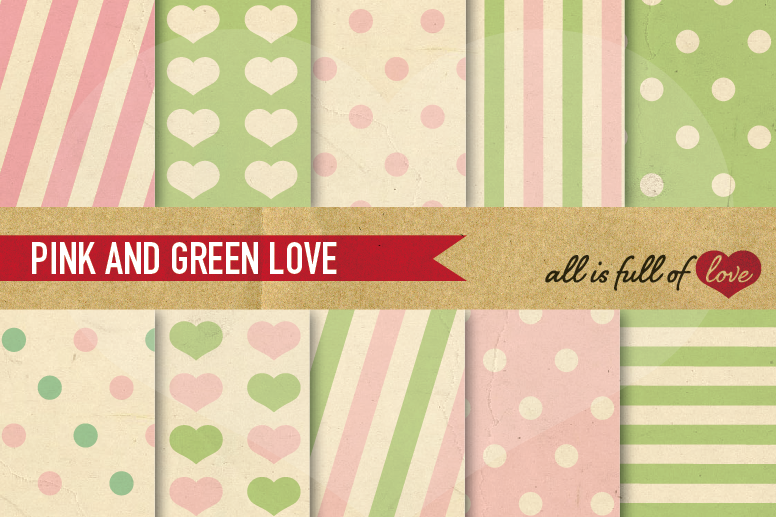 Green And Pink Digital Paper Spring Background Patterns With Vintage Example Image 1