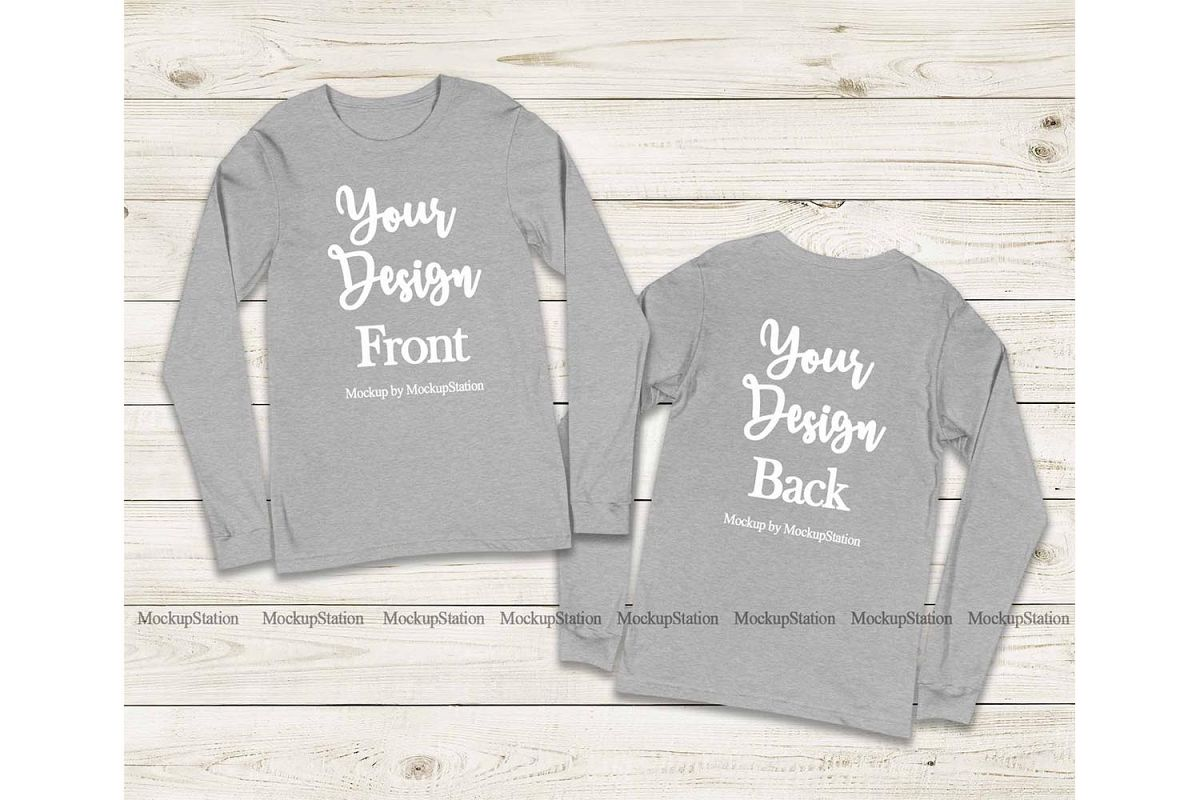 Front & Back Bella Canvas 3501 Athletic Heather Long Sleeve example image 1