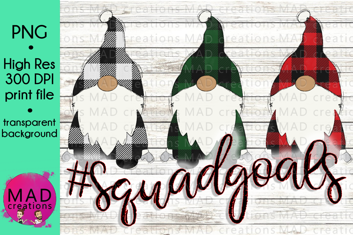 Squad Goals - Buffalo Plaid Santa Gnomes example image 1