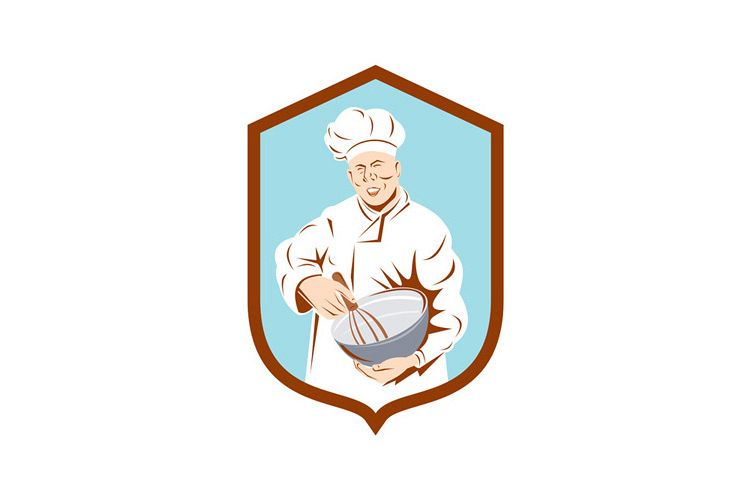 Baker Chef Cook Mixing Bowl Shield Retro example image 1