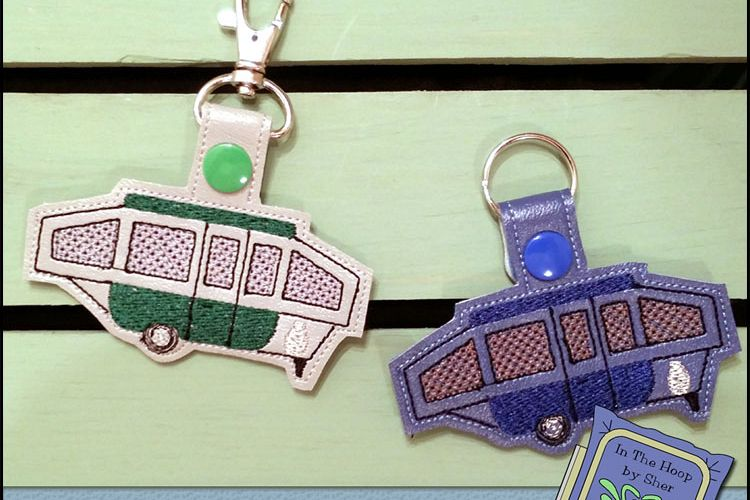 ITH Pop Up Camper Vinyl Key Fob or Bag Tag - Snap Tab Machine Embroidery
