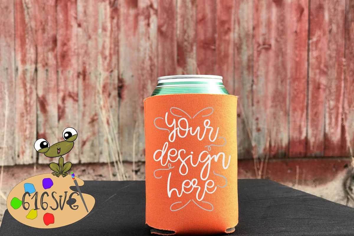 Neon Orange Can Cooler Mockup example image 1