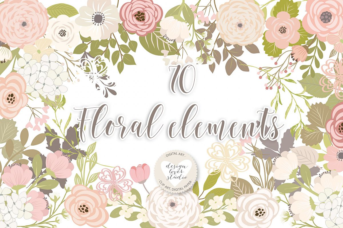 Vector floral elements example image 1
