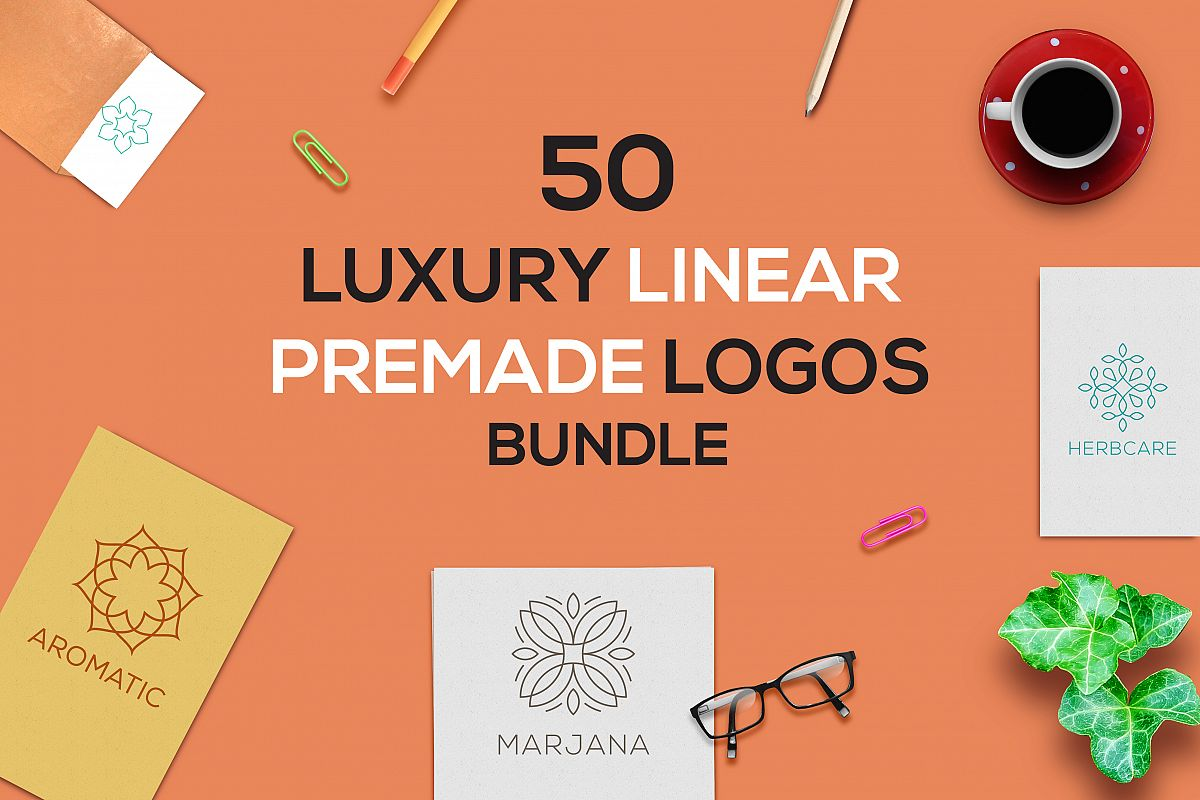 50 Luxury Linear Premade Logo Pack example image 1