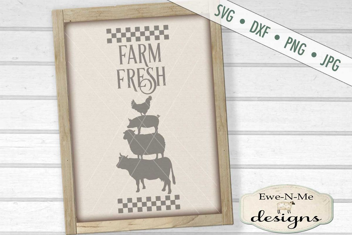 Farm Fresh Stacked Farm Animals Checked Border SVG DXF Files example image 1