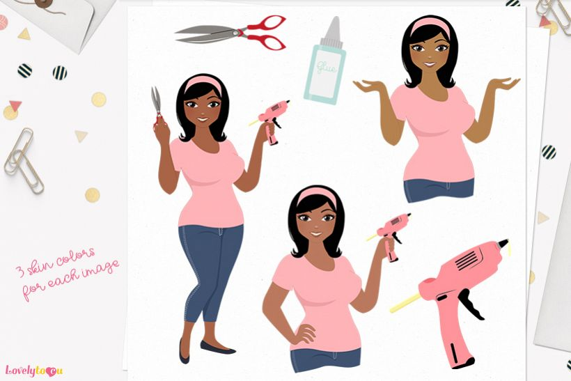 Woman crafts character clip art L158 Wendy example image 1