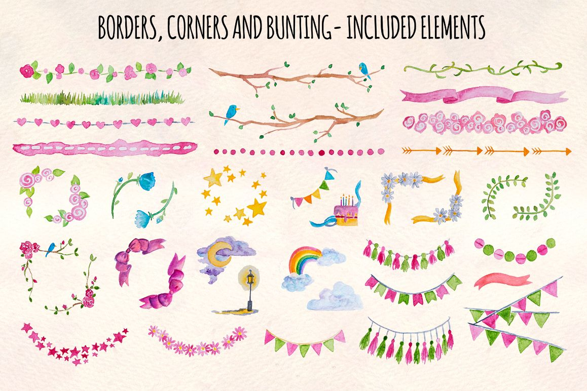 40 Handpainted Watercolor Borders, Corners and Bunting example image 1
