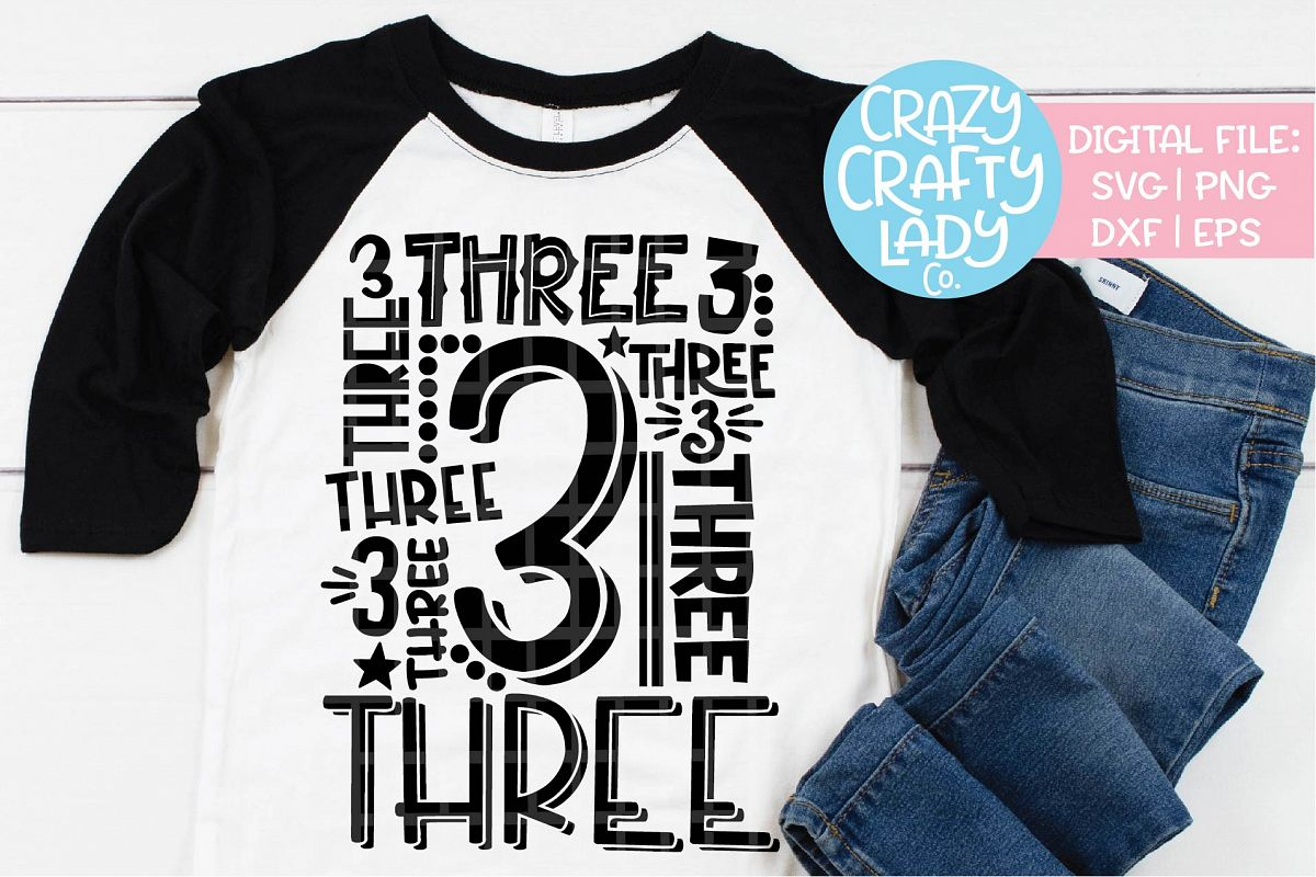 3rd Birthday Collage Typography SVG DXF EPS PNG Cut File example image 1