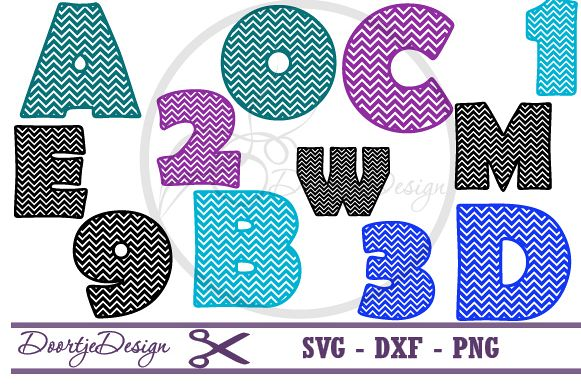 Chevron Letters and Numbers SVG cutting files example image 1