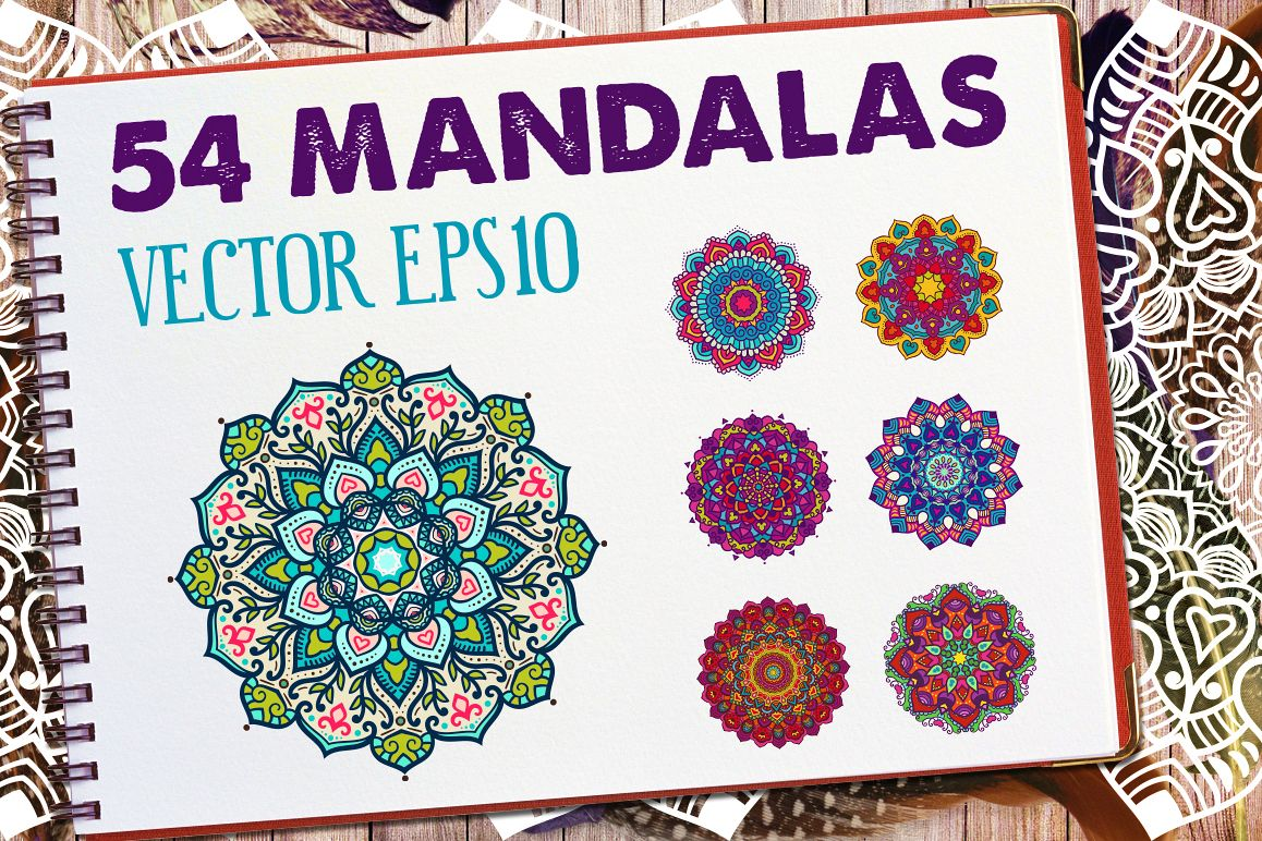 54 Vector Mandalas - Big Collection example image 1