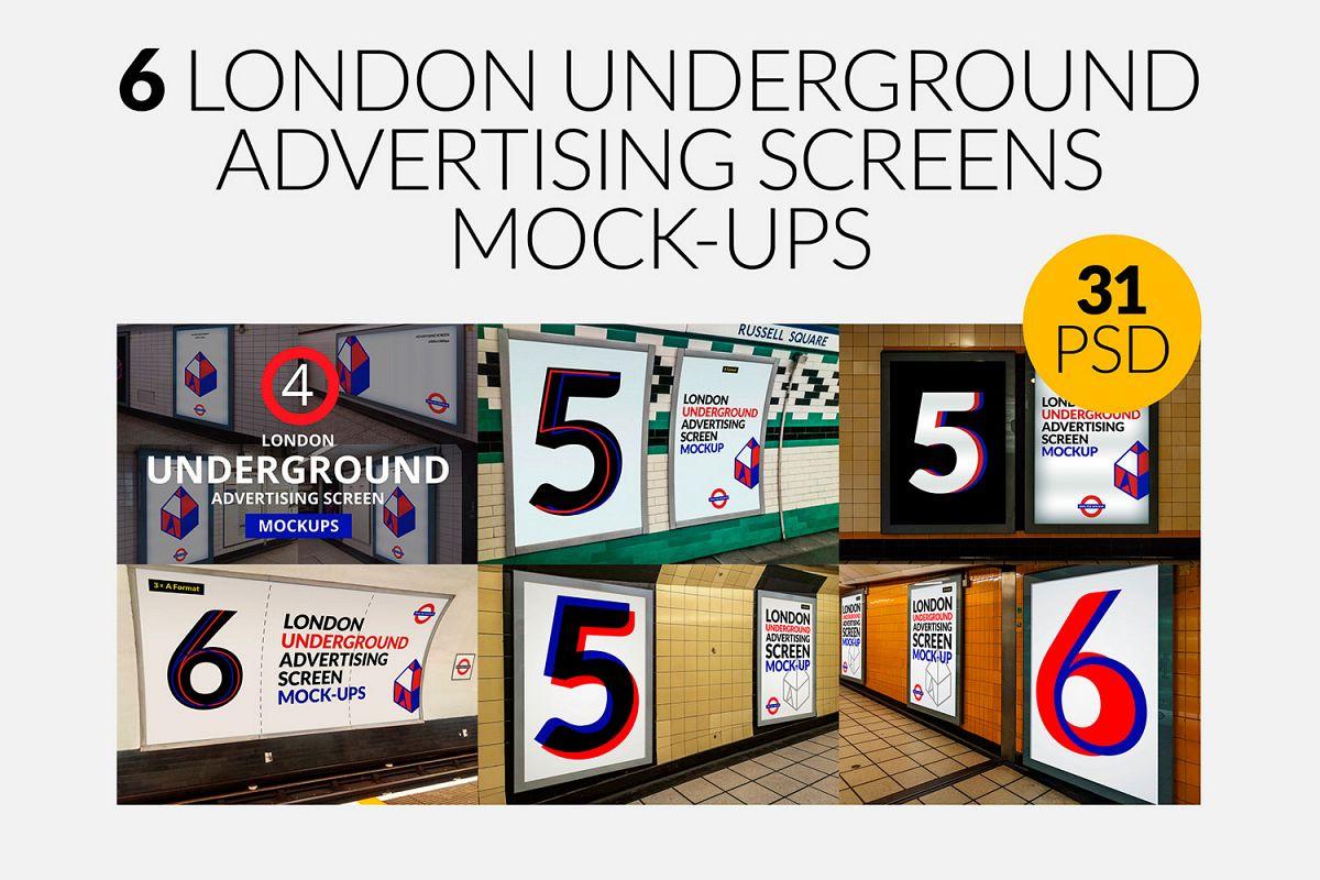 6 London Underground Ad Screen Mock-Ups Bundle / 31 PSD example image 1