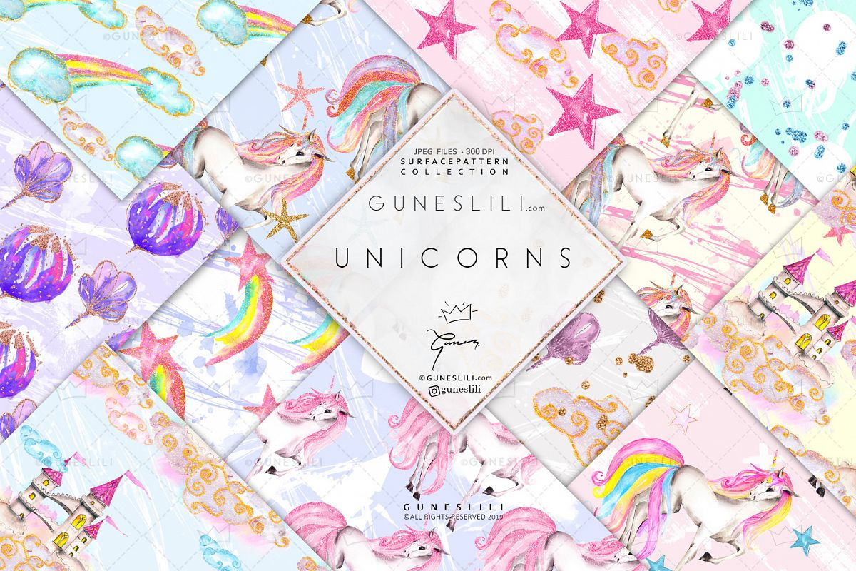 Pastel Unicorn Digital Pattern Pack Watercolor example image 1