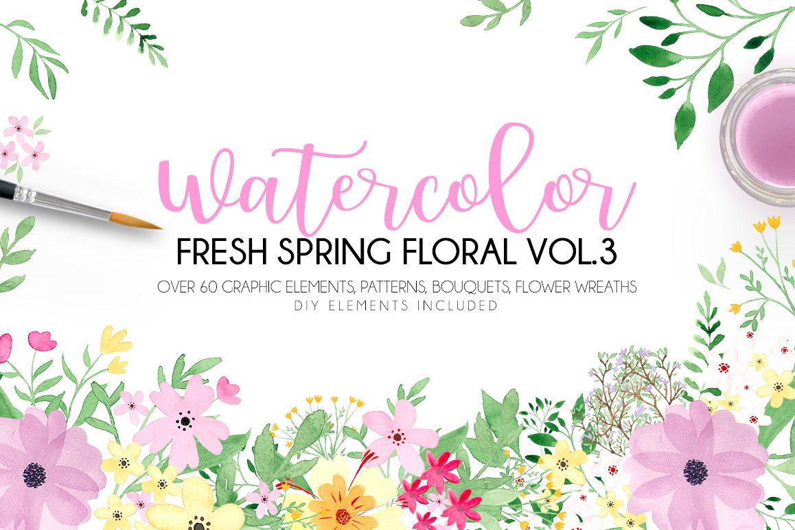 Watercolor fresh spring floral vol.3 example image 1