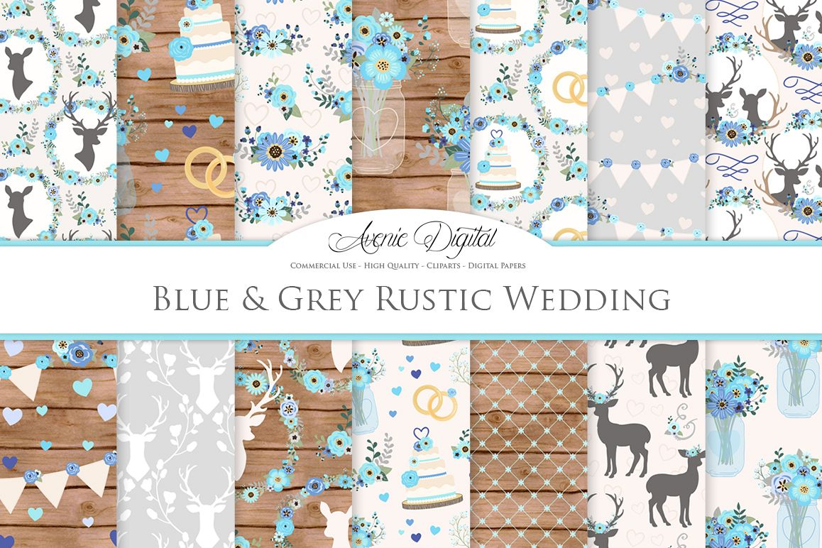 Blue and Grey Wedding Digital Paper - Gray and Blue Rustic Wedding Deer Seamless Patterns example image 1