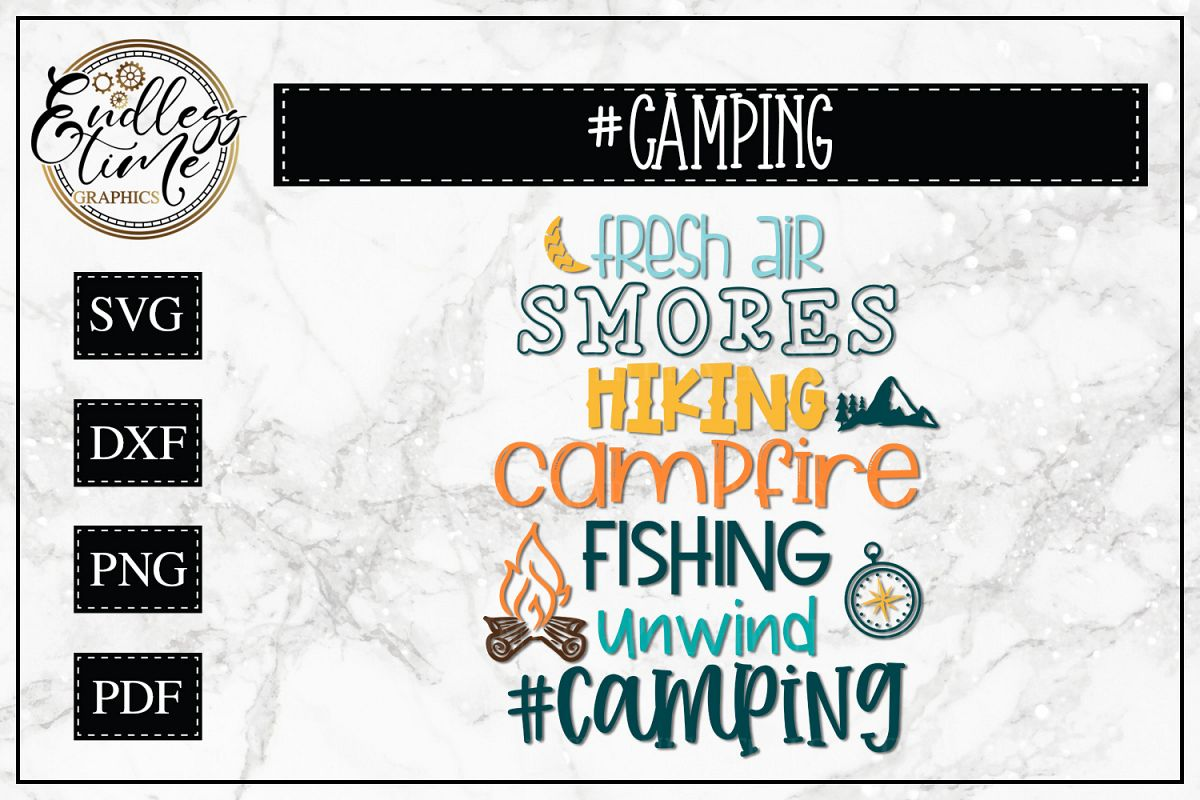 Camping Word Collage SVG - An Outdoors SVG example image 1