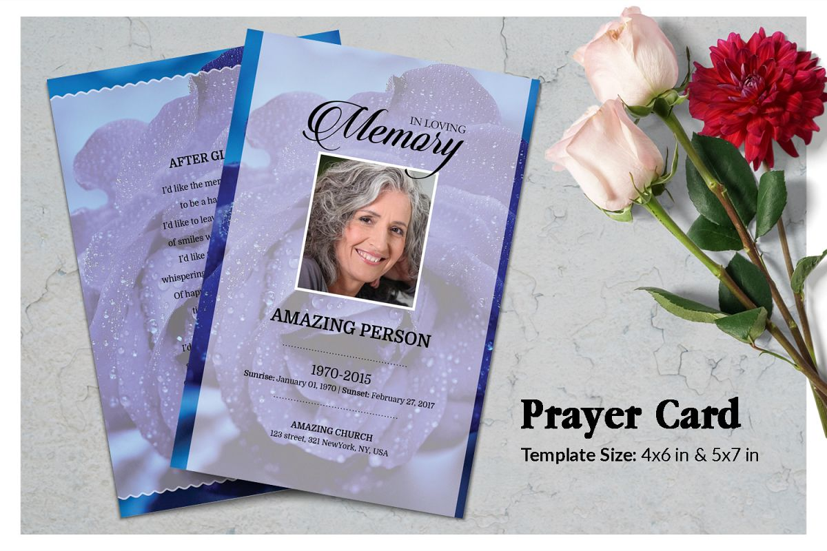 Blue flower Funeral Prayer Card Template example image 1
