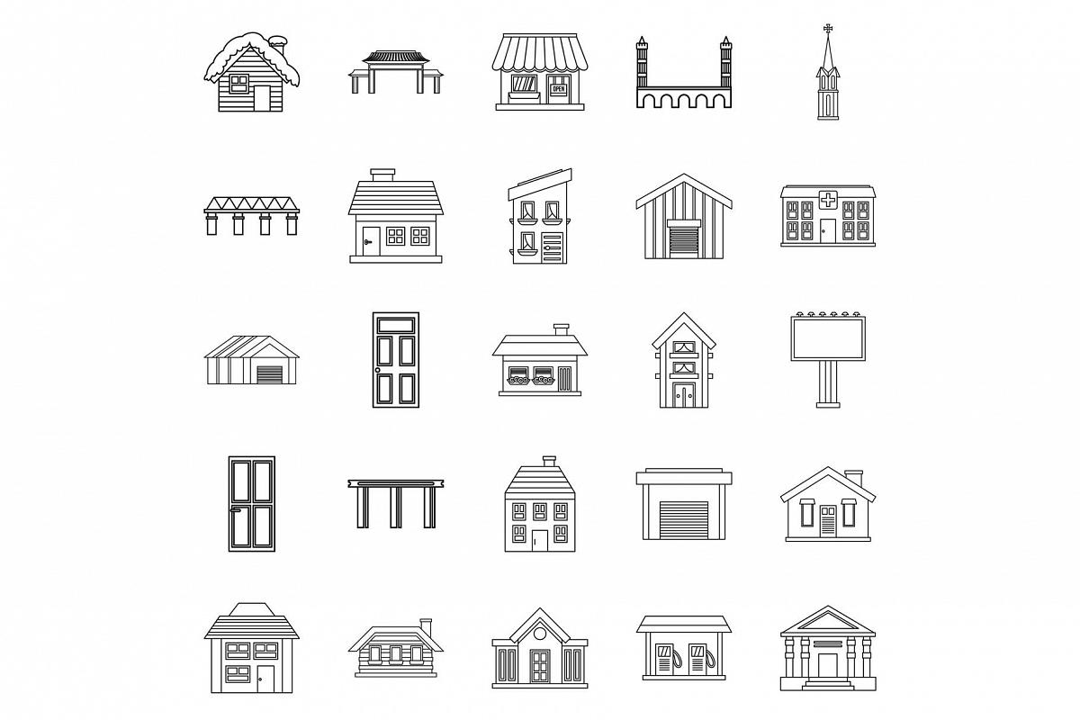 Creation icons set, outline style example image 1
