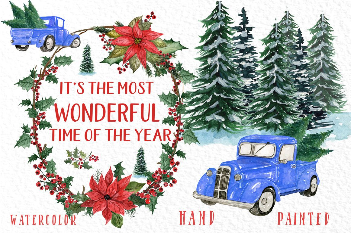 Watercolor Christmas cars clipart, Poinsettias Wreaths example image 1
