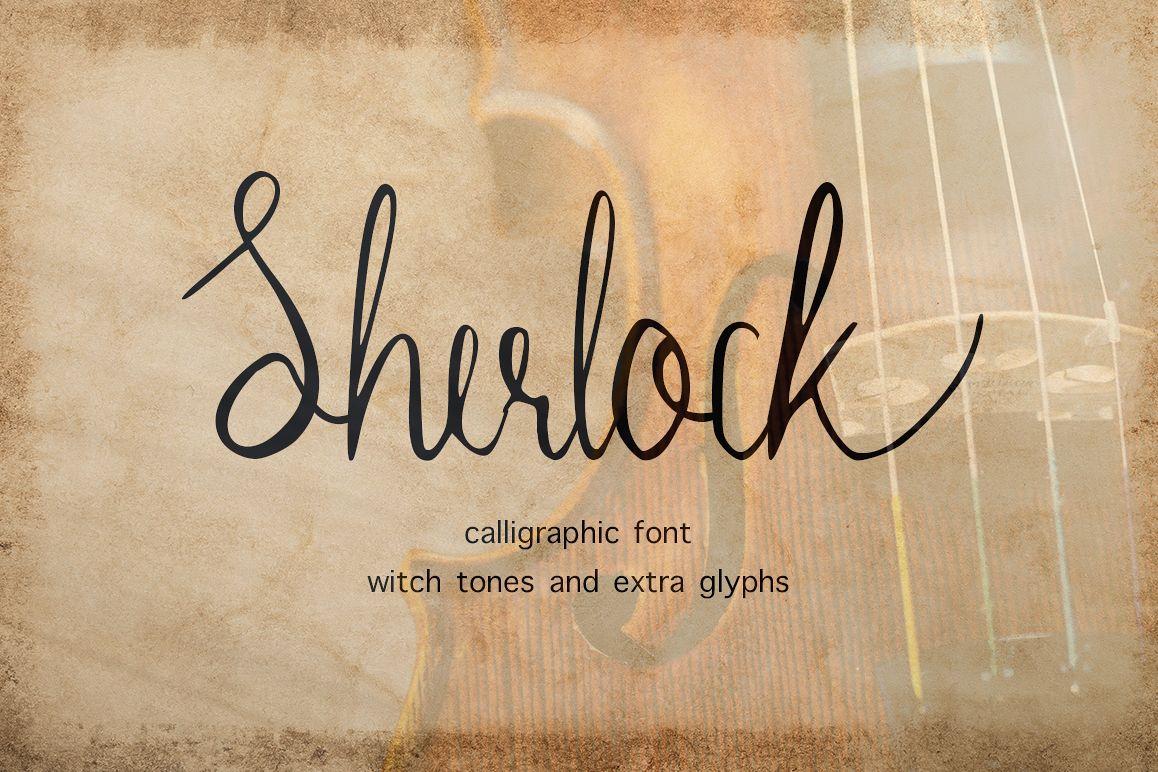 Sherlock calligraphy script font example image 1