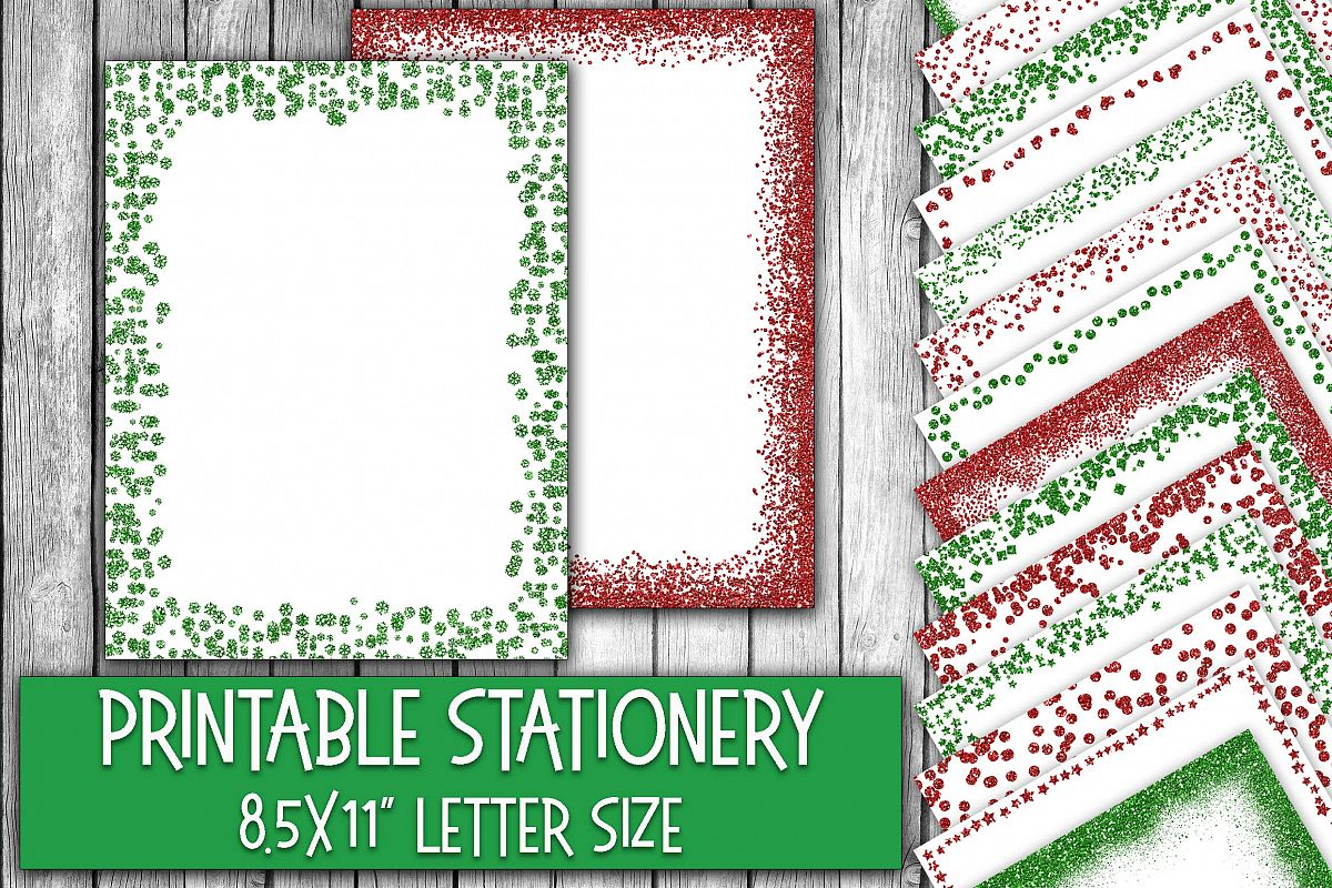 christmas stationery glitter borders digital paper example image 1