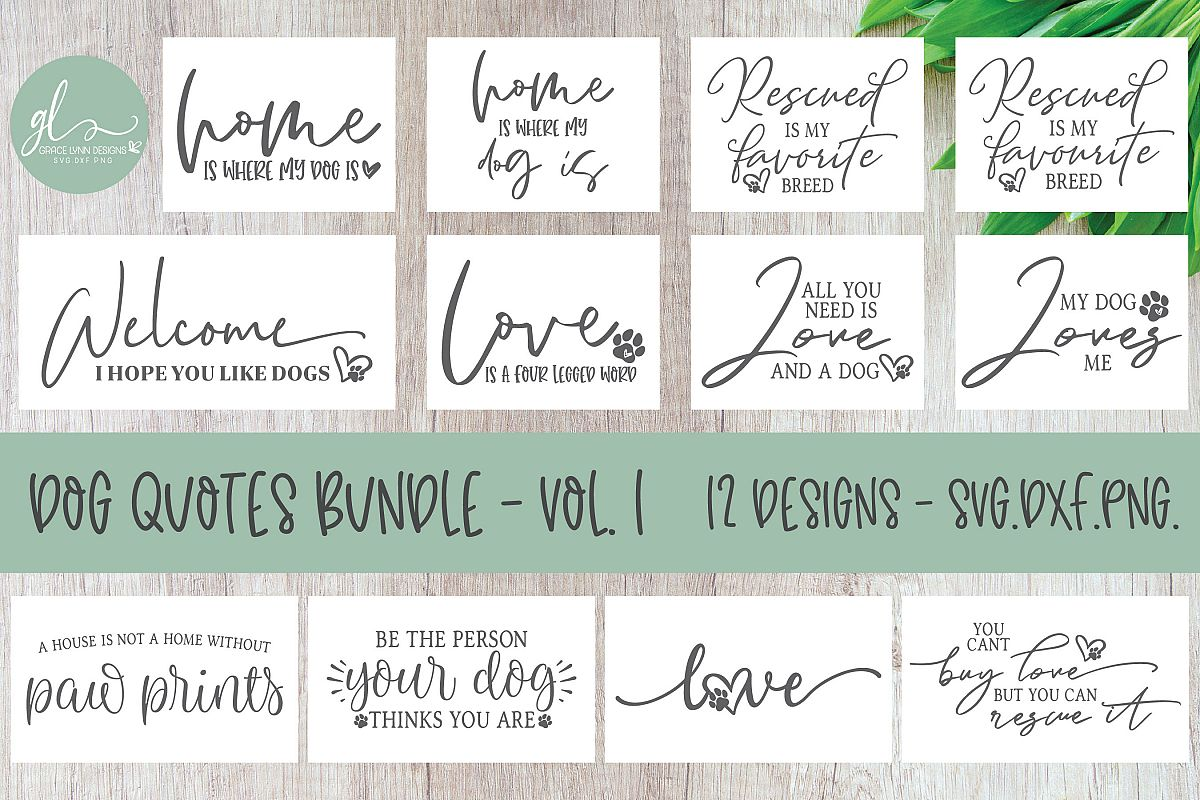 Dog Quotes Bundle Vol. 1 - 12 Designs - SVG Cut Files example image 1
