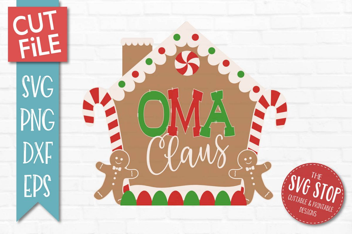 Oma Claus Gingerbread Christmas SVG, PNG, DXF, EPS example image 1