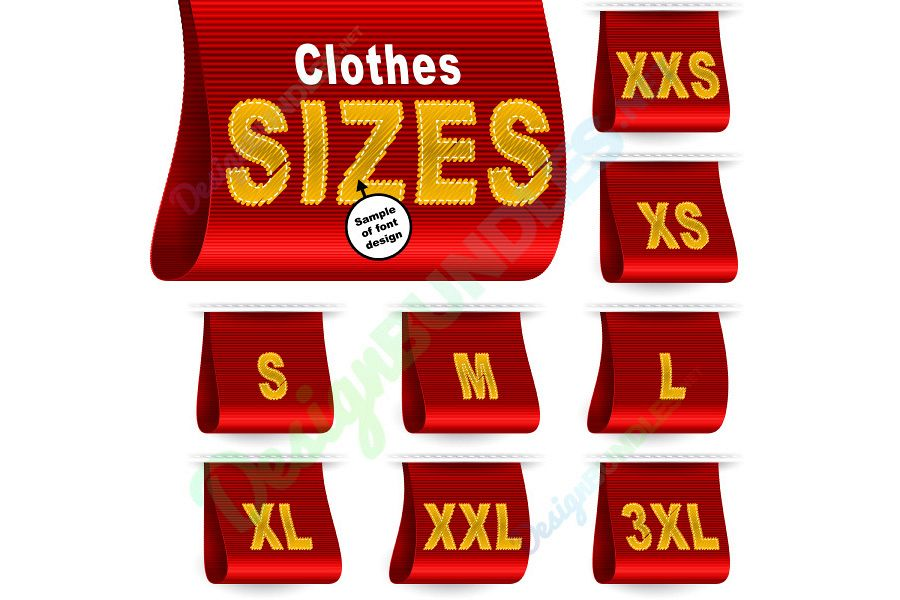 Vector Clothes Size Label Marketing Tag Sticker Sewn Set Red example image 1