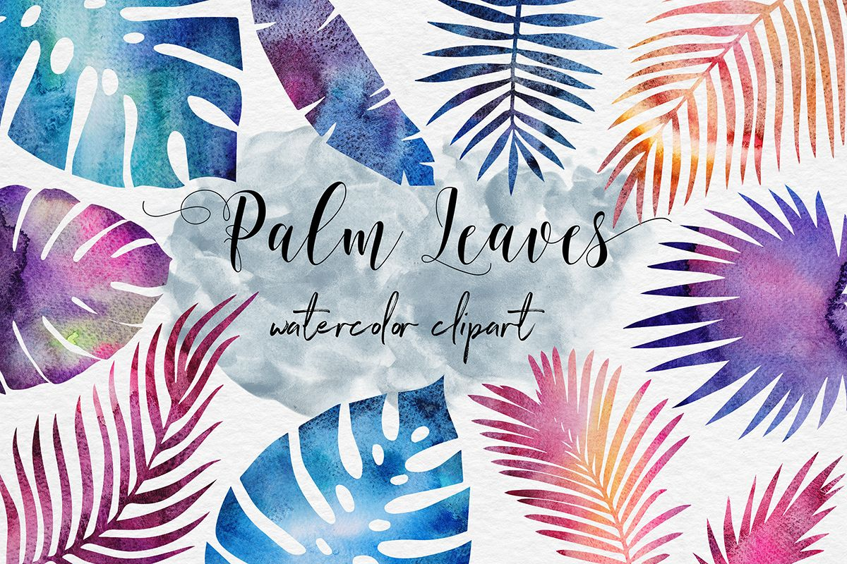 Galaxy Watercolor Palm Leaves example image 1