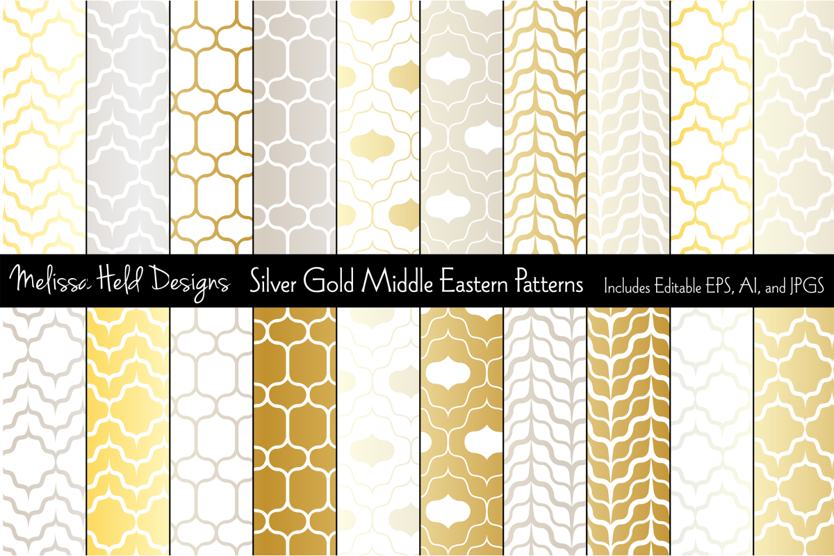 Middle Eastern Patterns Silver Gold example image 1