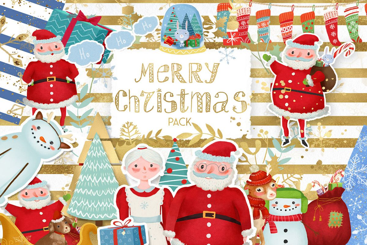 Merry Christmas clipart pack with Santa and digital paper example image 1