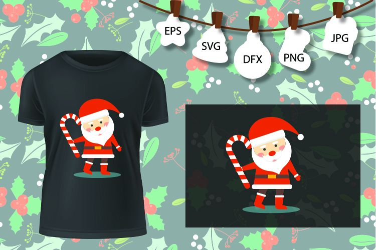 Candy Santa SVG Cut Files, Silhouette Cameo Cricut, Dxf Svg example image 1