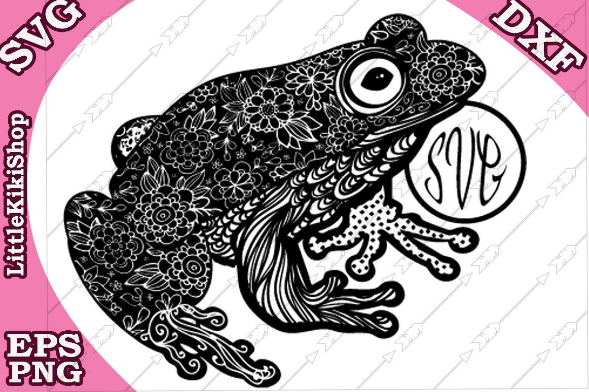 Frog Monogram Svg, Mandala Frog Svg, Frog cut file,Frog Svg example image 1