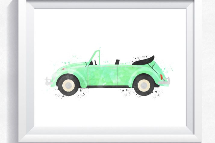 watercolor vw beetle printable nursery printable car boy bedroom
