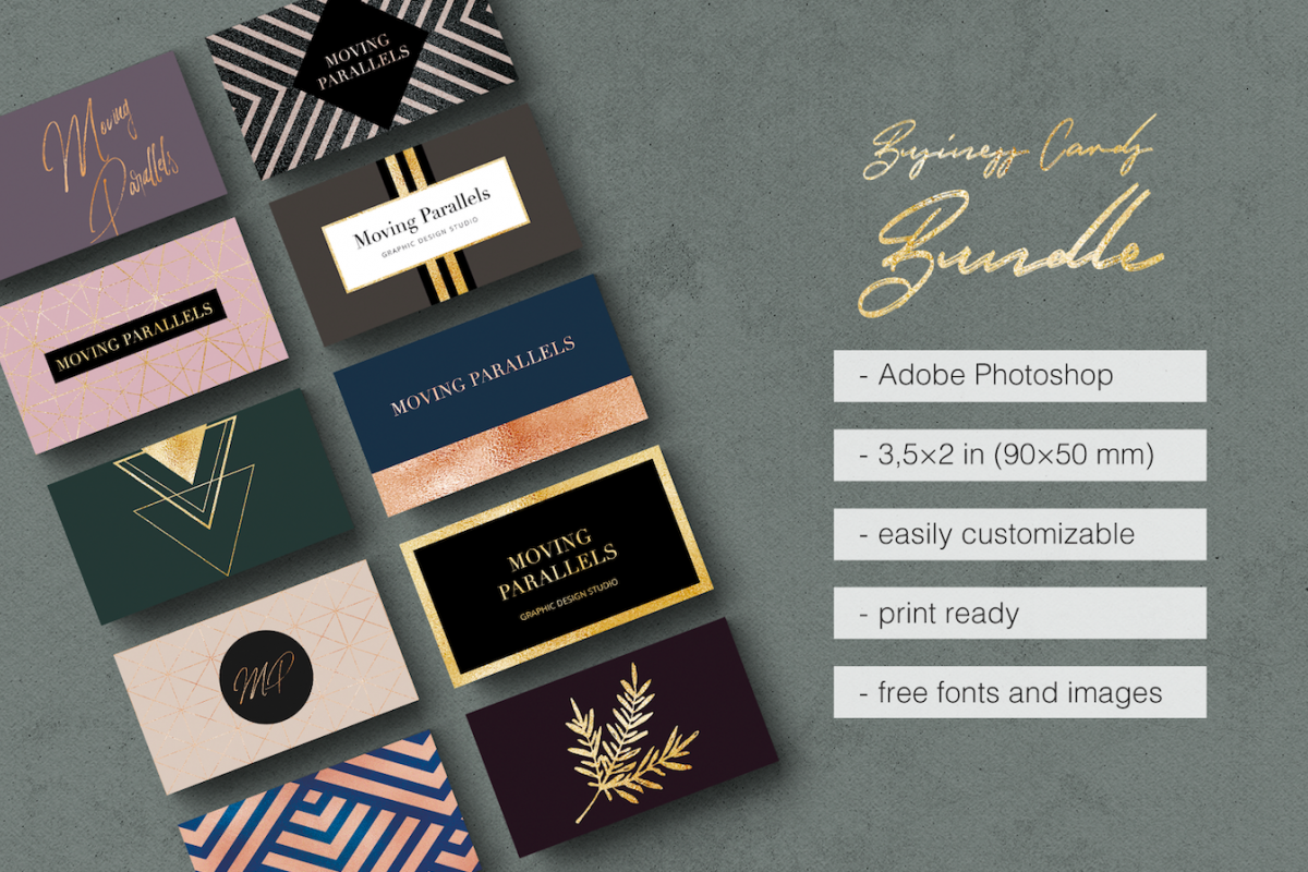 Elegant Gold Business Cards Bundle