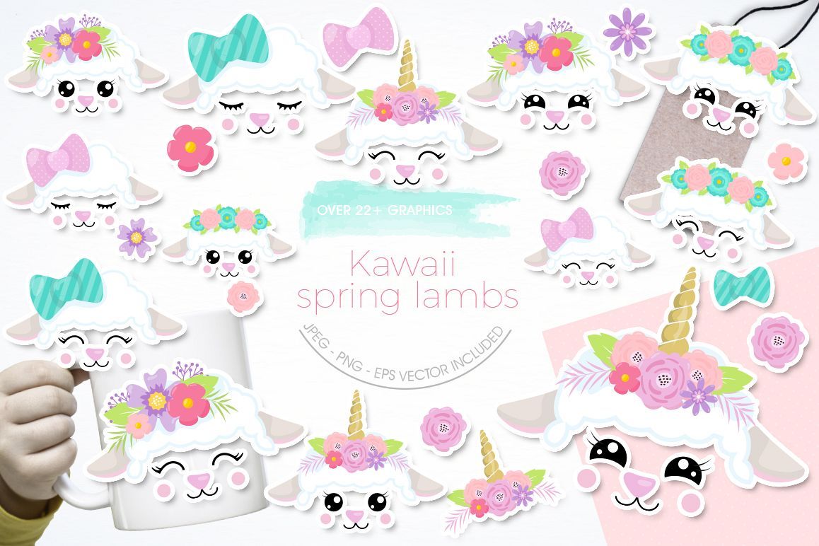 Kawaii Spring Lambs graphic and illustrations example image 1
