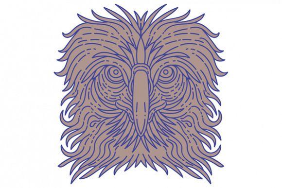 Great Philippine Eagle Head Mono Line example image 1