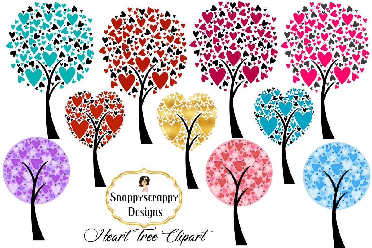 Valentine Heart Trees Clipart example image 1