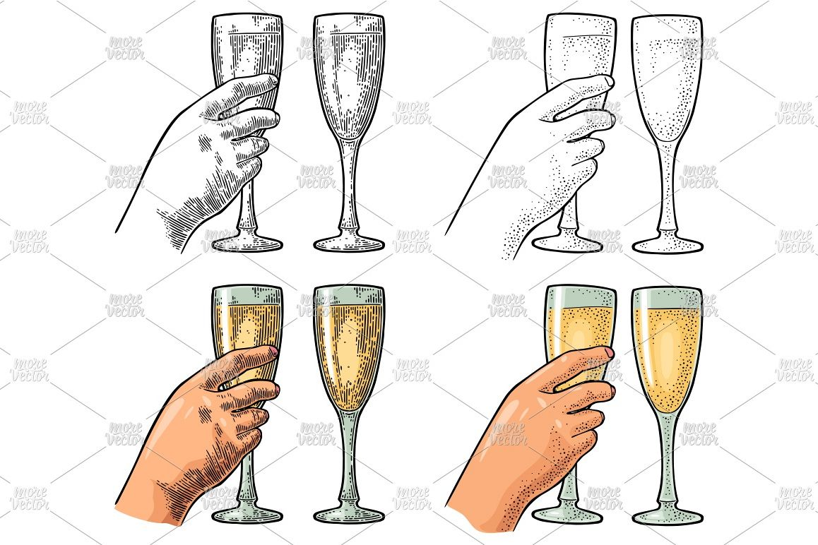 Female hand hold clink glass champagne Vintage engraving example image 1