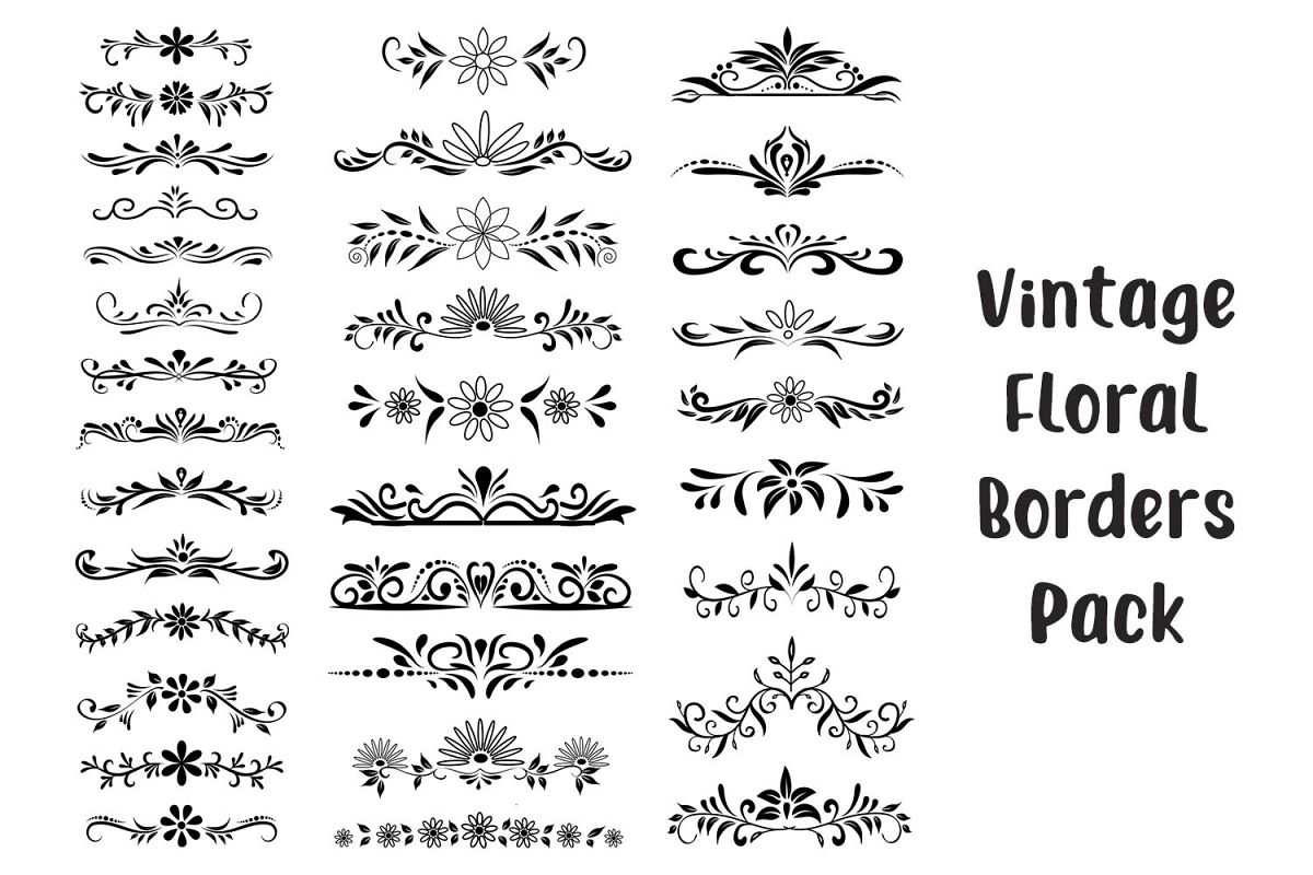 Floral Borders and seperators - Vector example image 1