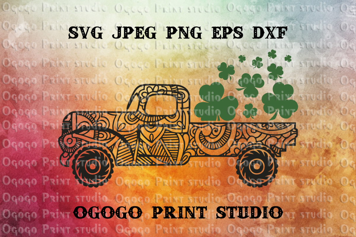 St Patrick's Day Truck Svg, Shamrock SVG, Zentangle SVG example image 1