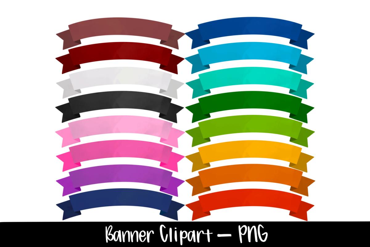 Watercolor Ribbon Banner Border Clipart Bundle example image 1