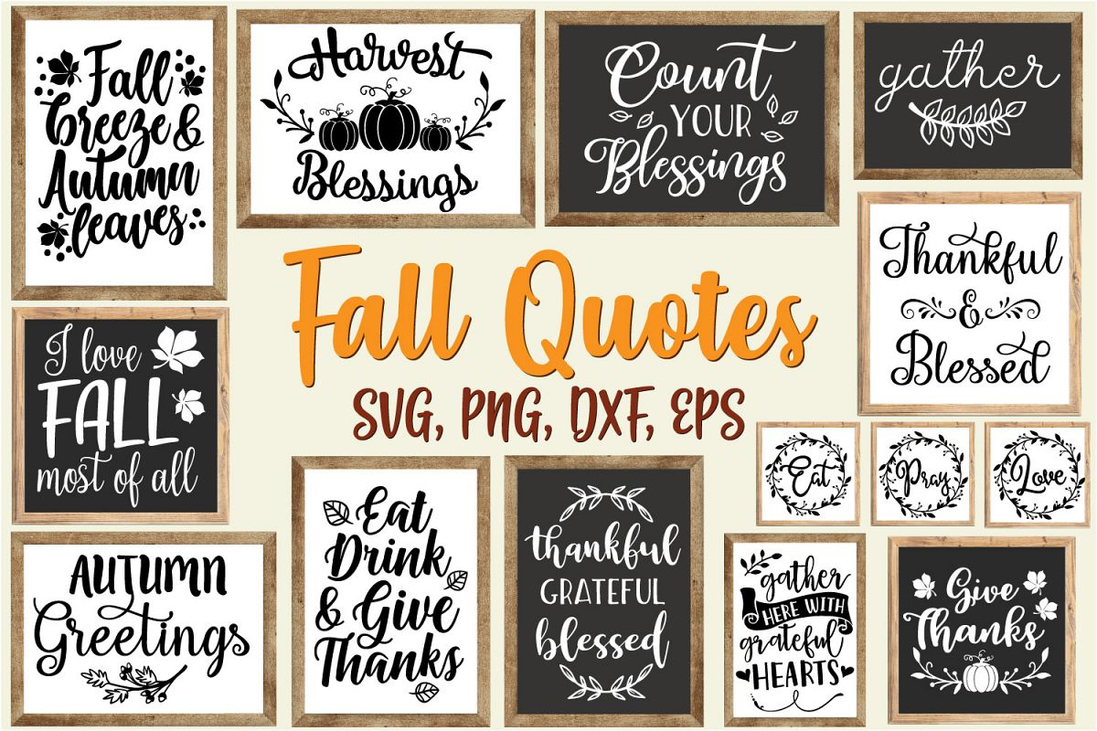 Fall Quotes And Sayings Bundle Svg Eps Dxf Png