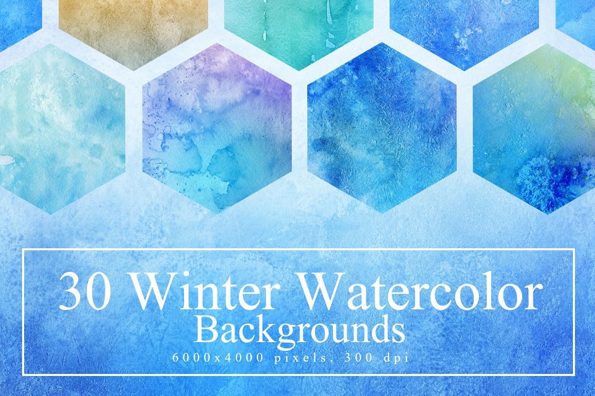 30 Winter Watercolor Backgrounds example image 1