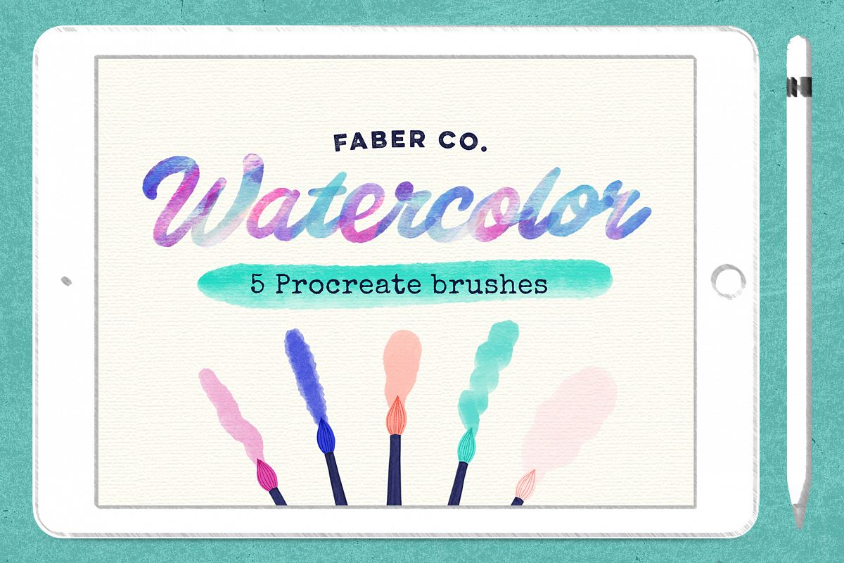 Procreate Watercolor Brushes example image 1